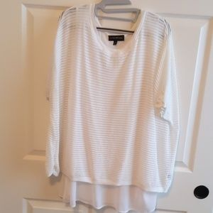 White Ribbed Overlay Shirt with Sheer Cami